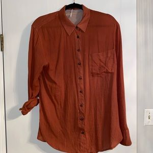 Free People Rust button up top with side vents